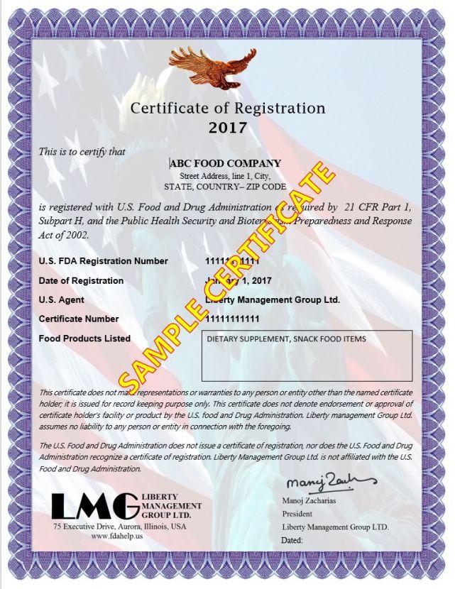 FDA Registration Number - FDA Registration Certificate