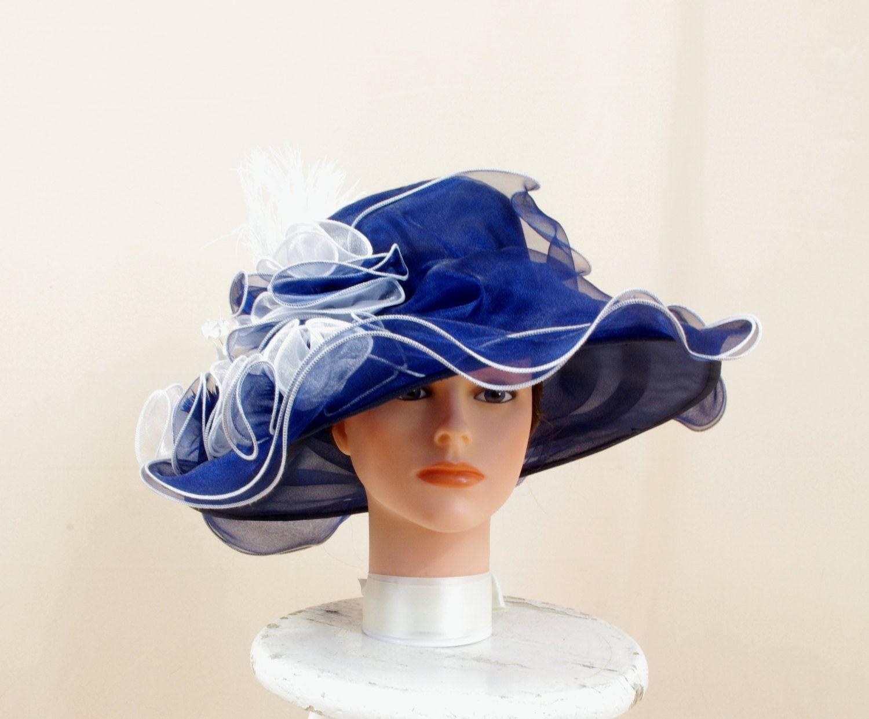 39edc58584e White and Navy Hat   Kentucky Derby Hat   Floppy Hat   Wide Brim Hat   Church  Hat   Formal Hat   Fashion Hat   Elegant Blue Hat by englishrosedesignsoh  on ...