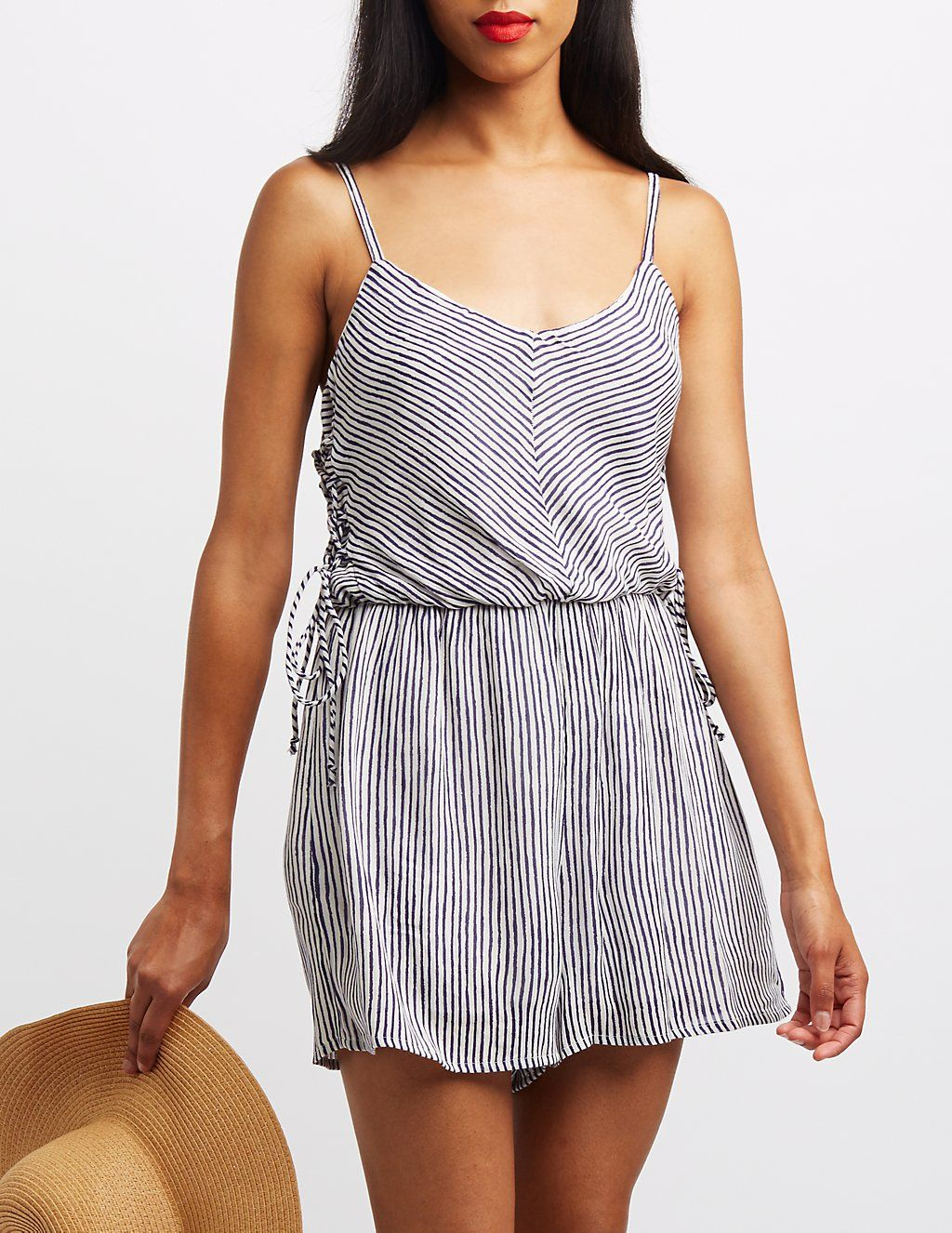 0c8a67ad7e44 Striped Lace-Up Side Romper