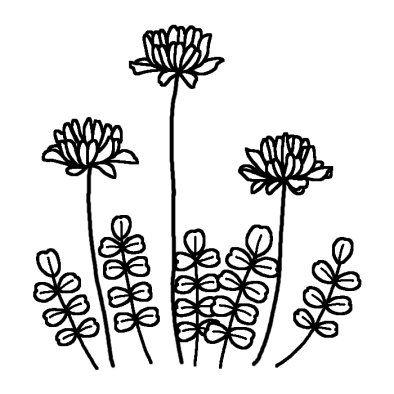 レンゲソウ2 春の花 無料 白黒イラスト素材 刺繍 図案 刺繍 図案
