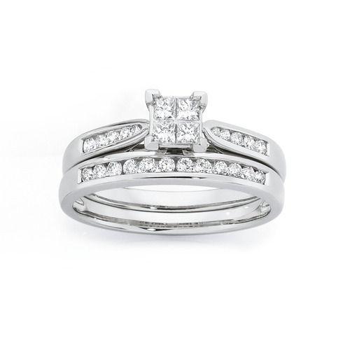 9ct White Gold Diamond Bridal Ring Set Goldmark Australia