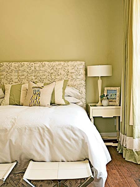 Muted lime green and cream bedroom - Photo: Coastal Living, Jean ...