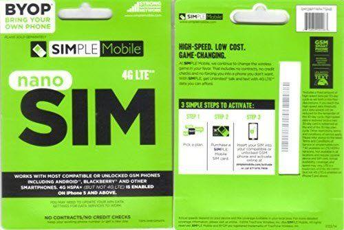 4g lte simple mobile nano sim card kit for tmobile iphone