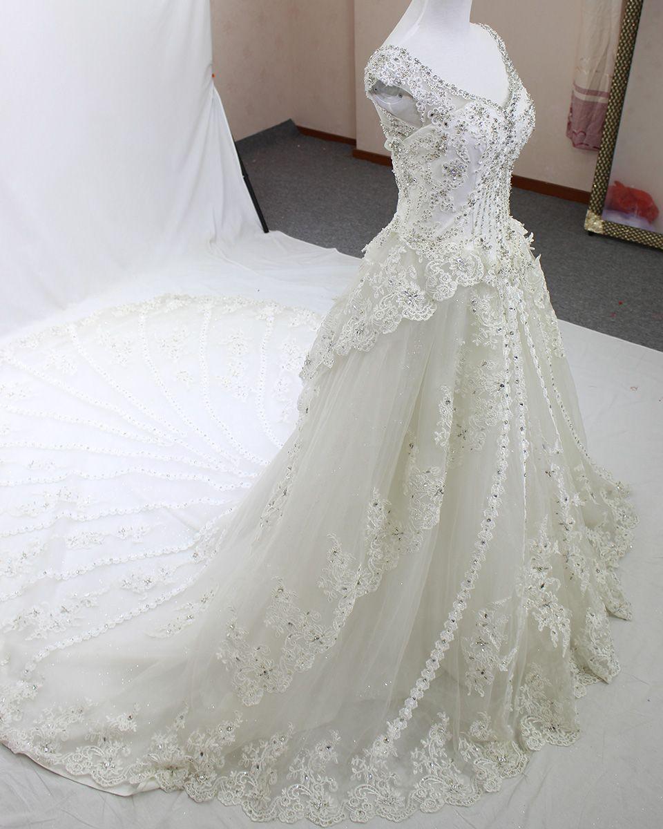 1f92ead6fa Real Photos bling crystal beadeds luxury wedding dress mermaid long ...