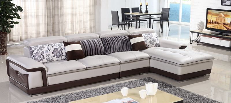 Free Shipping Genuine Leather Sofa, Top Grain Cattle Leather L Shaped  Combination Corner Sofa Best