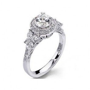calla lily butterfly 18kt white gold halo engagement ring 100tw mounting only - Butterfly Wedding Rings