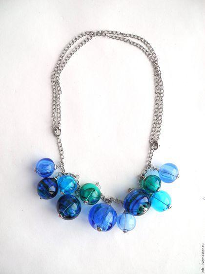Lampwork glass necklace / Колье, бусы ручной работы. Колье из полых бусин лэмпворк, крупное колье. Вера. Интернет-магазин Ярмарка Мастеров.