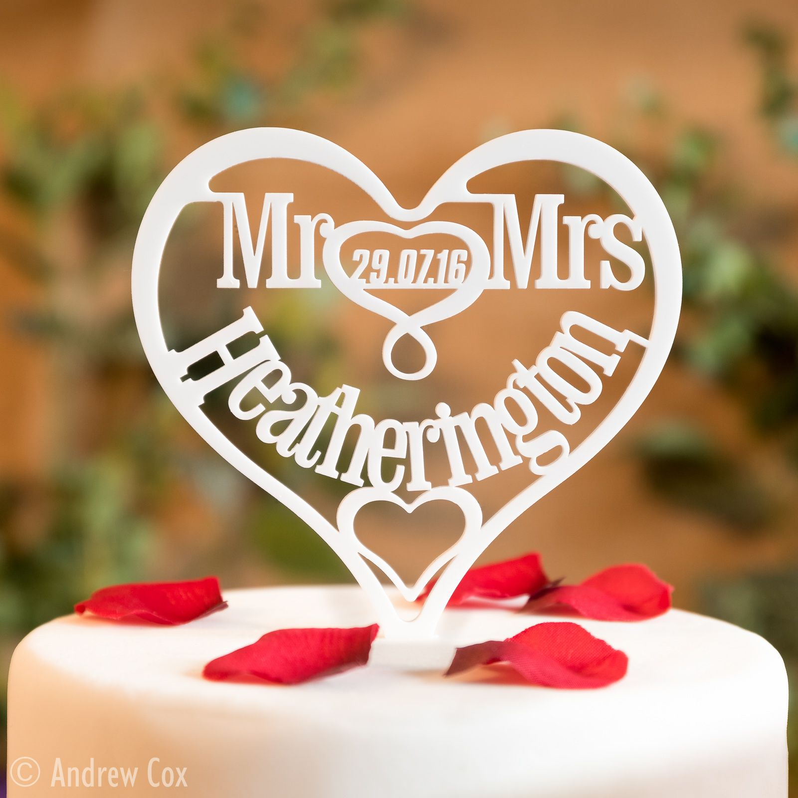 White Surname Up To 9 Letters Personalised Mr Mrs Heart Wedding Cake Topper