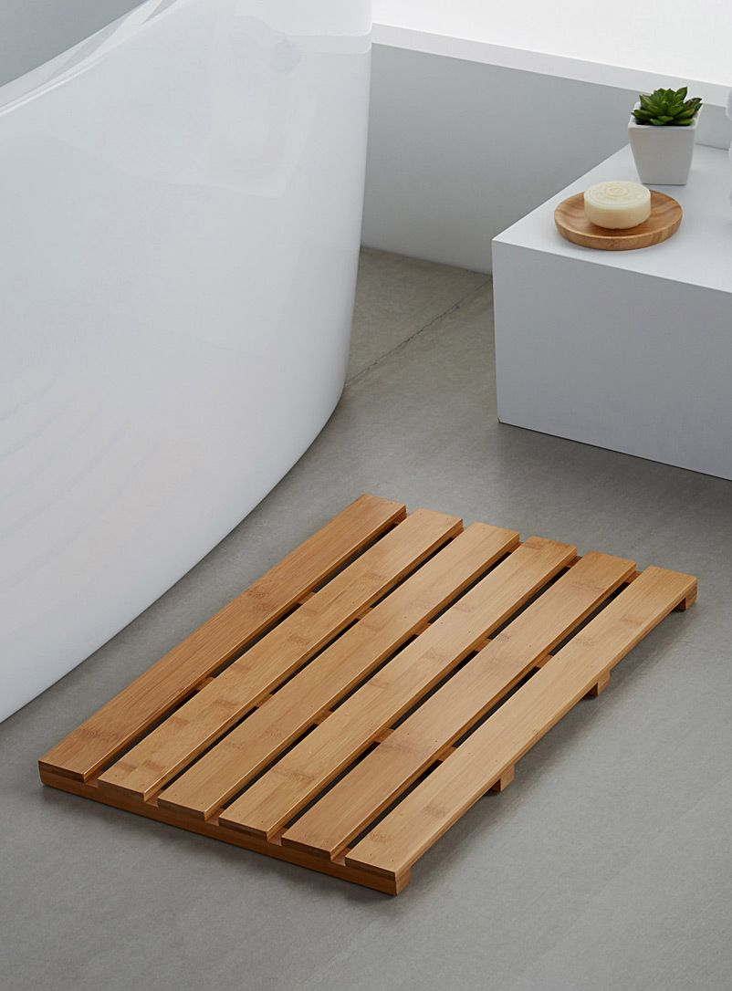 La Descente De Bain Lattes De Bambou 36 X 54 Cm Minimalist Baths Bath Mat Trendy Bathroom Tiles