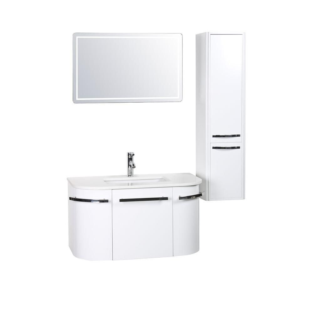 Decor Living Bianca 36 in. W x 19.68 in. D Vanity in White with ...