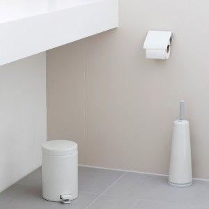 סט פח 3 ליטר לבן+מברשת אסלה קוני לבן+מתקן קיר לנייר טואלט לבן Brabantia