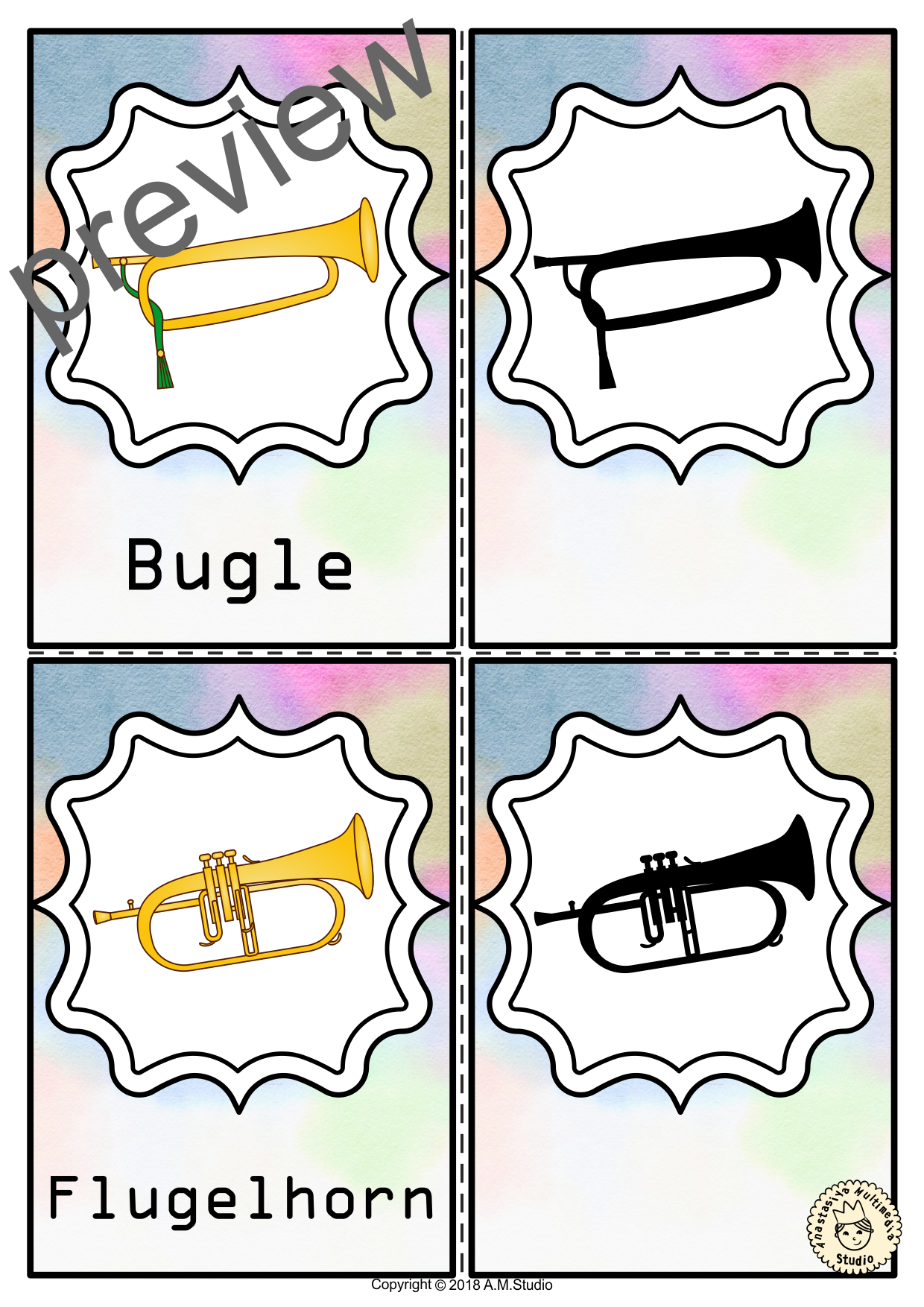Musical Instruments Shadow Matching Flashcards