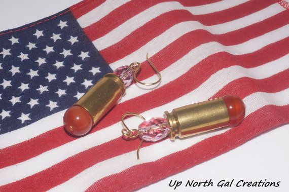FREE SHIPPING TO THE USA  Agate and Crystal Earrings, 40 Caliber Earrings, Pink Crystal Jewelry, Red Agate Earrings, Country Earrings, Bullet