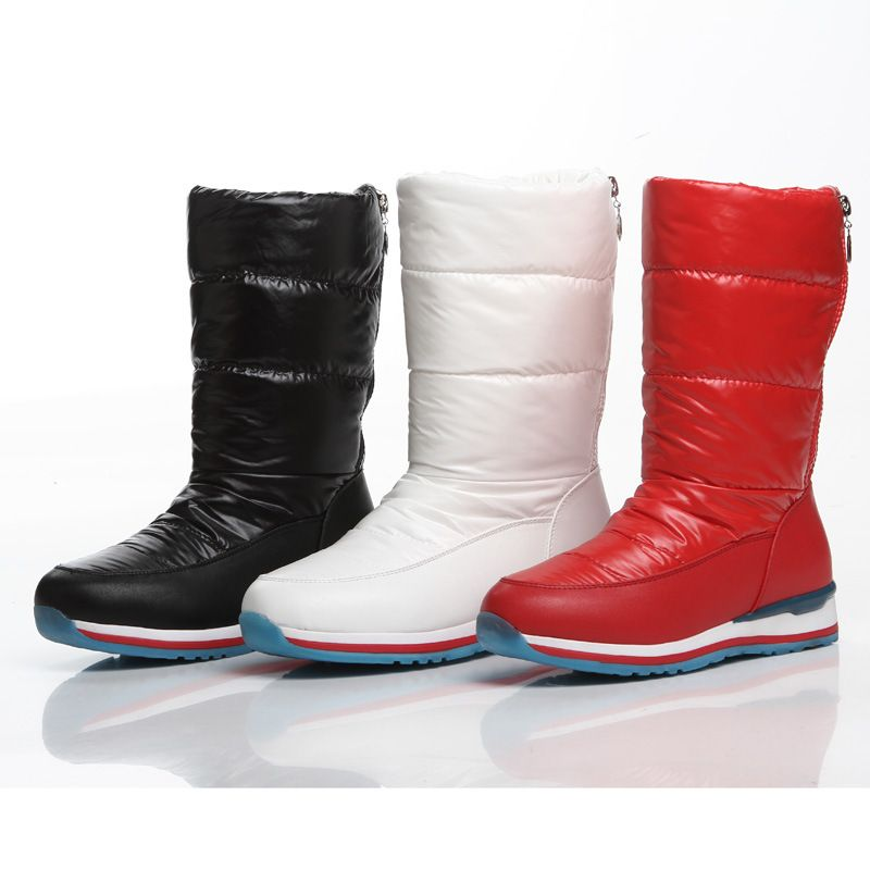 Women New Fashion Leisure Artificial PU Warm Snow Middle Boots