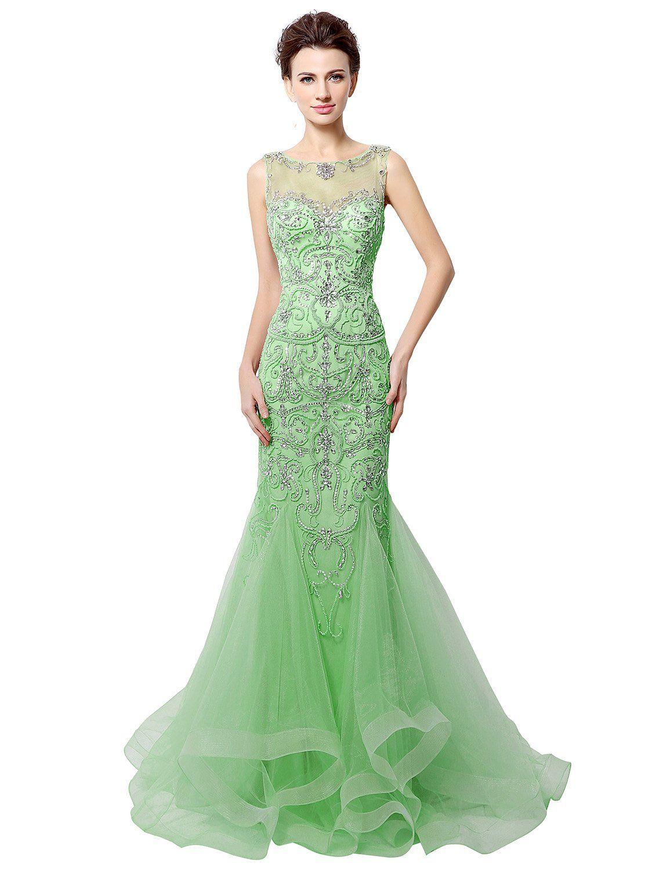 Sarahbridal womenus long tulle mermaid beaded prom dress