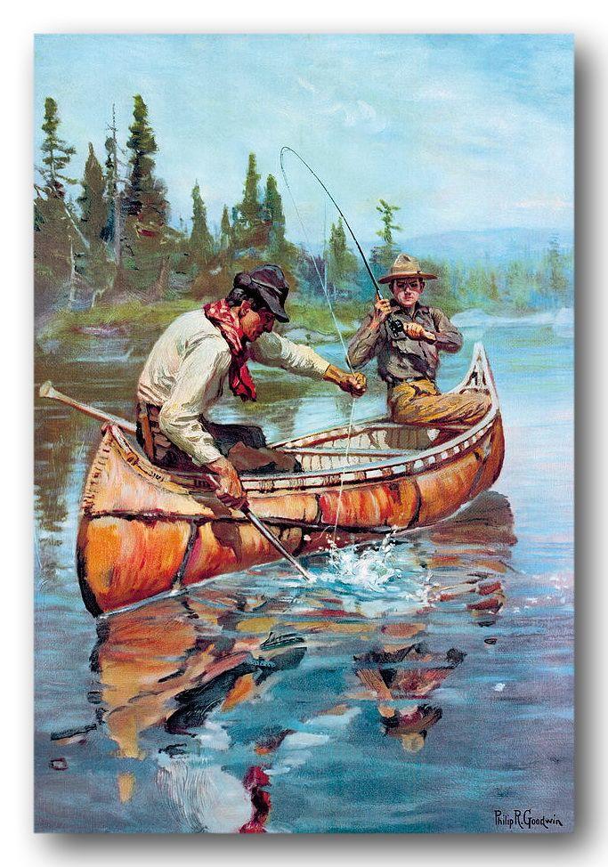 Northern lake fishing in a birch bark canoe. by Phillip Goodwin