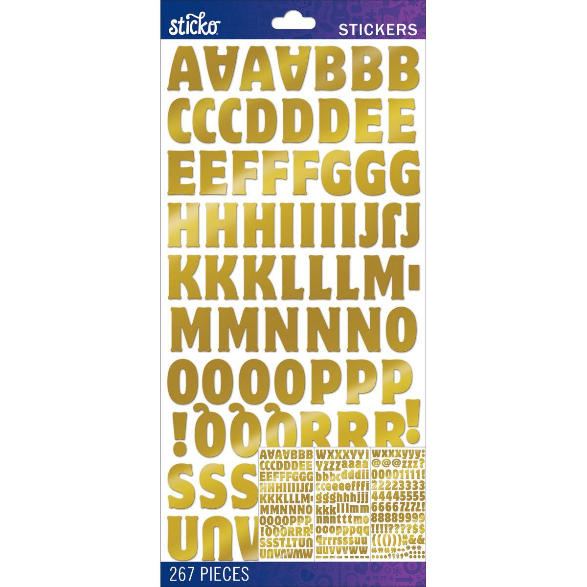 Sticko alphabet stickers gold foil motter medium