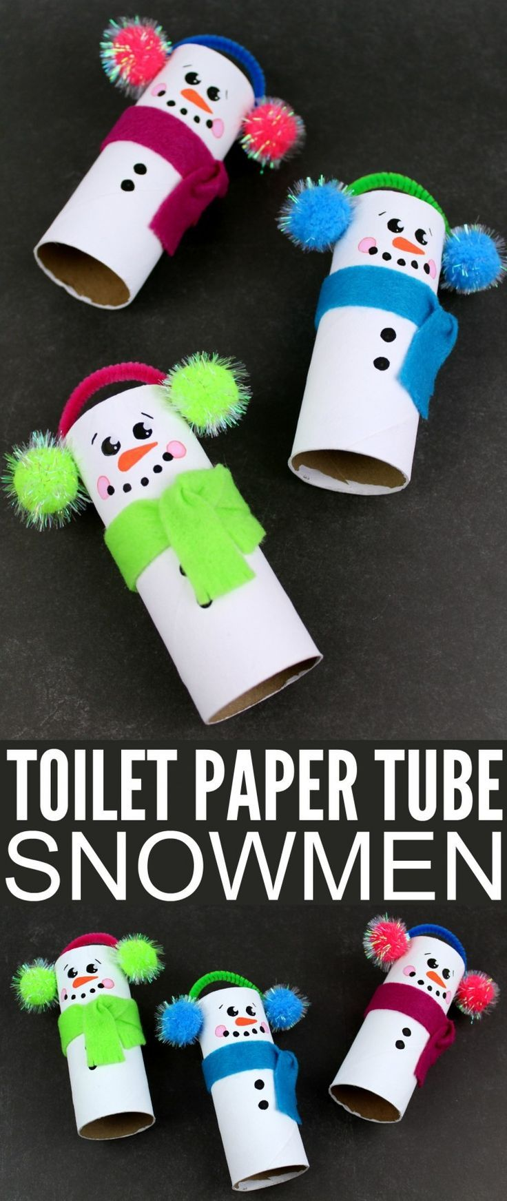Recycled Toilet Paper Tube Snowmen Winter crafts for