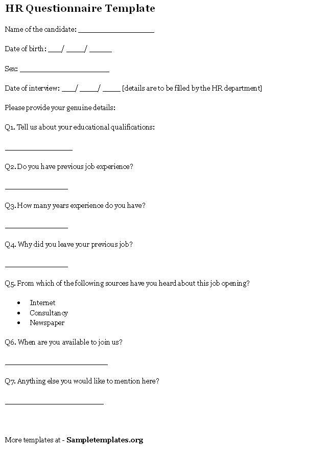 Hr Questionnaire Template  Sample Questionnaires