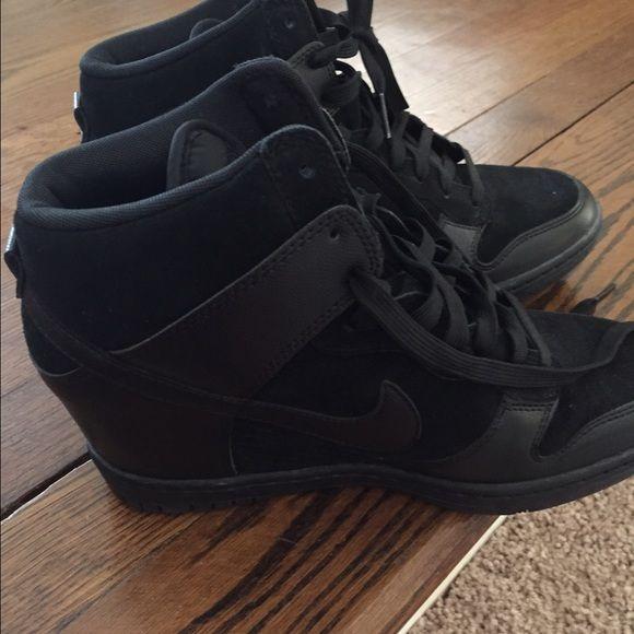 Nike black wedge tennis shoes dunk ski hi Wore one time like brand new Nike  Shoes