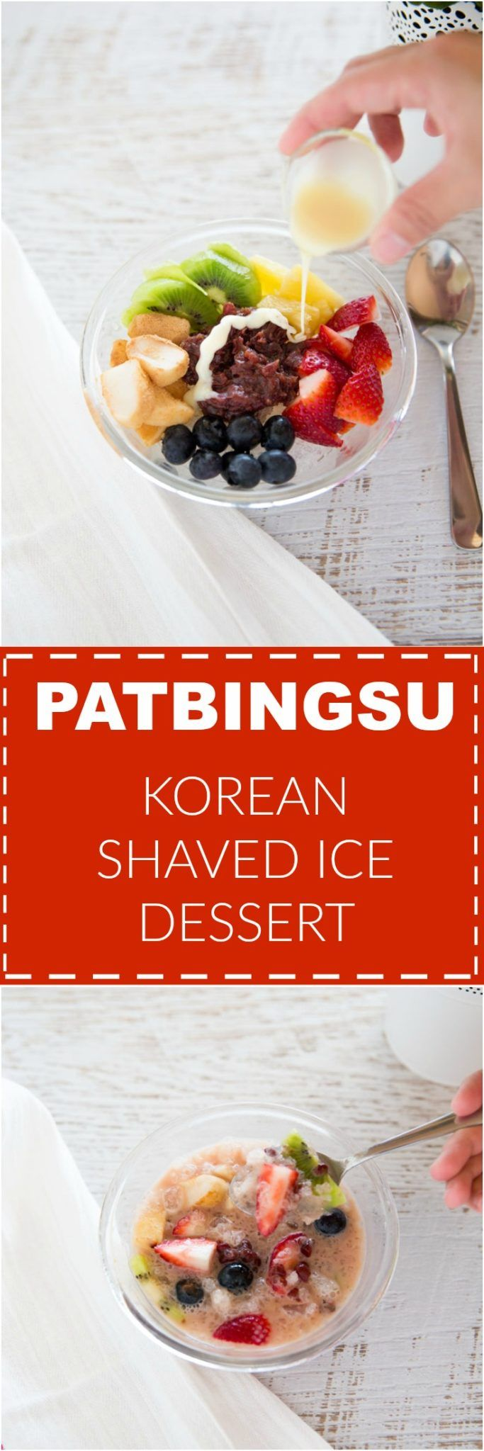 Get ready for summer with this perfect Korean summer dessert - Patbingsu! It's Korean shaved ice dessert topped with fruit, red bean paste and sweet condensed milk! | MyKoreanKitchen.com via @mykoreankitchen