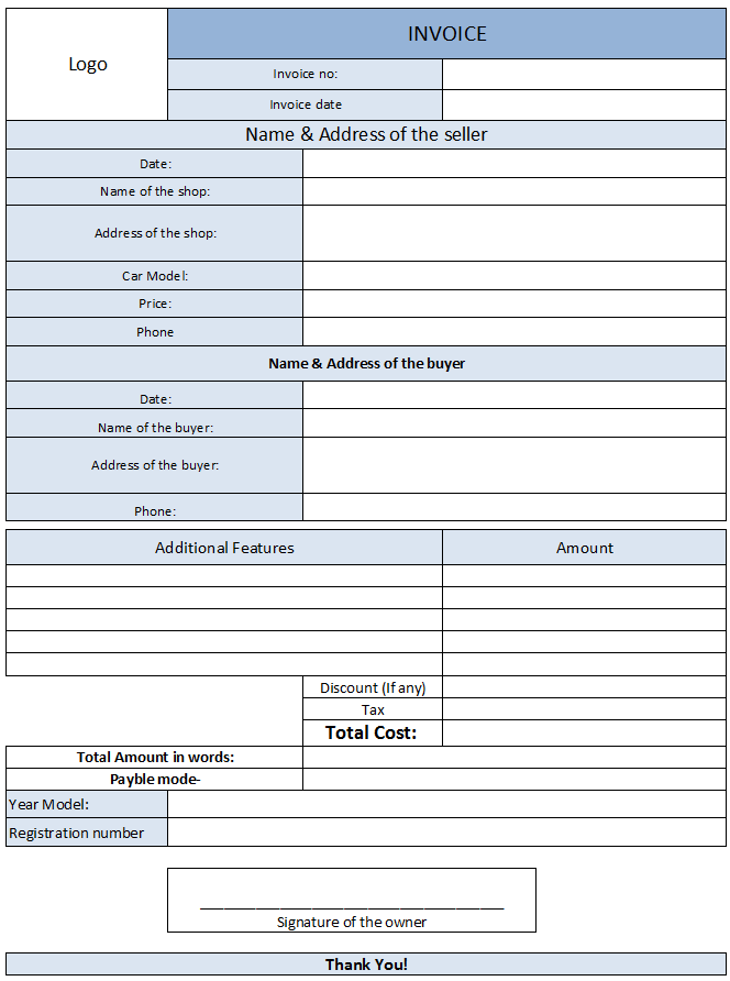 Car Sales Invoice Template Free  Invoice