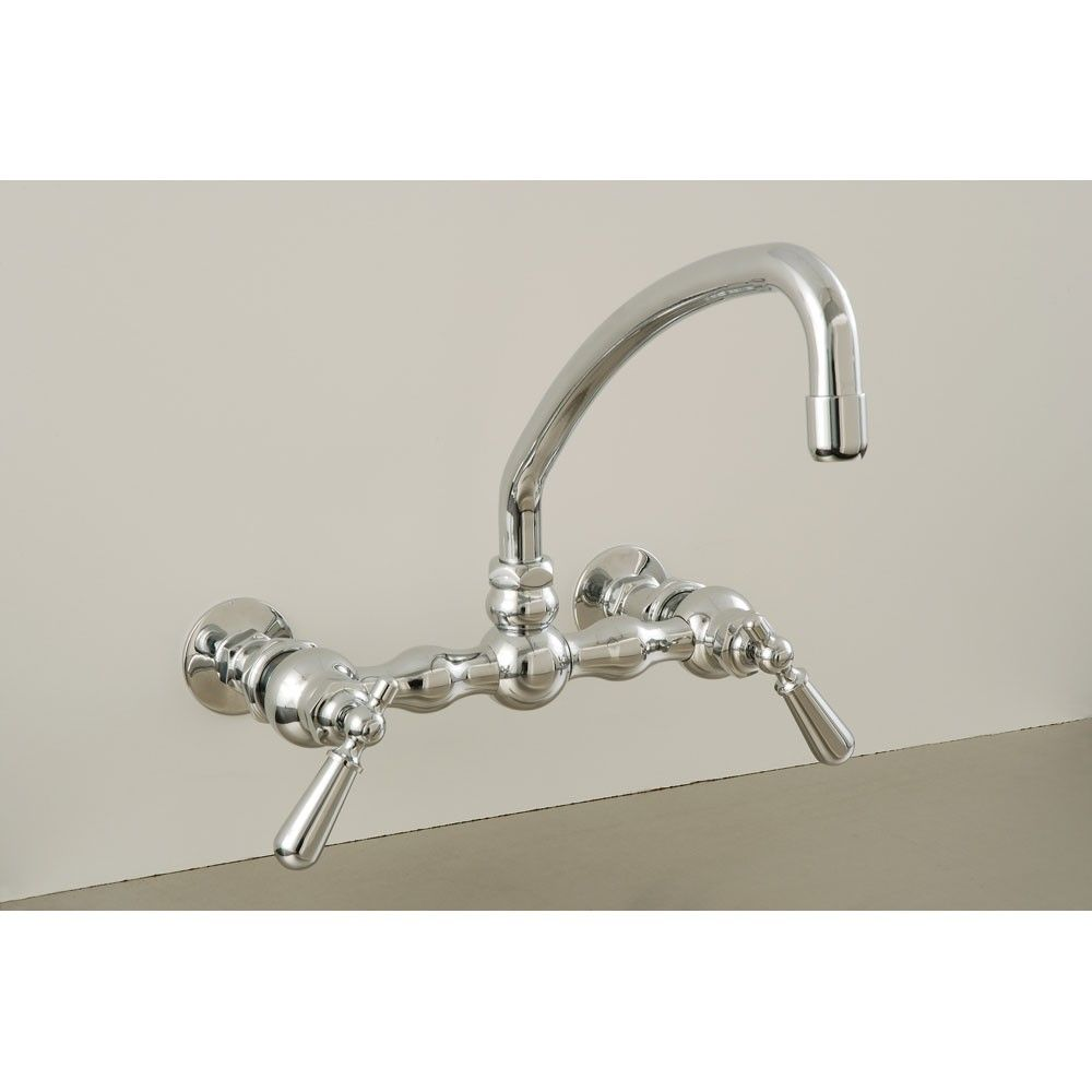 American wall mount curved spout faucet with metal lever