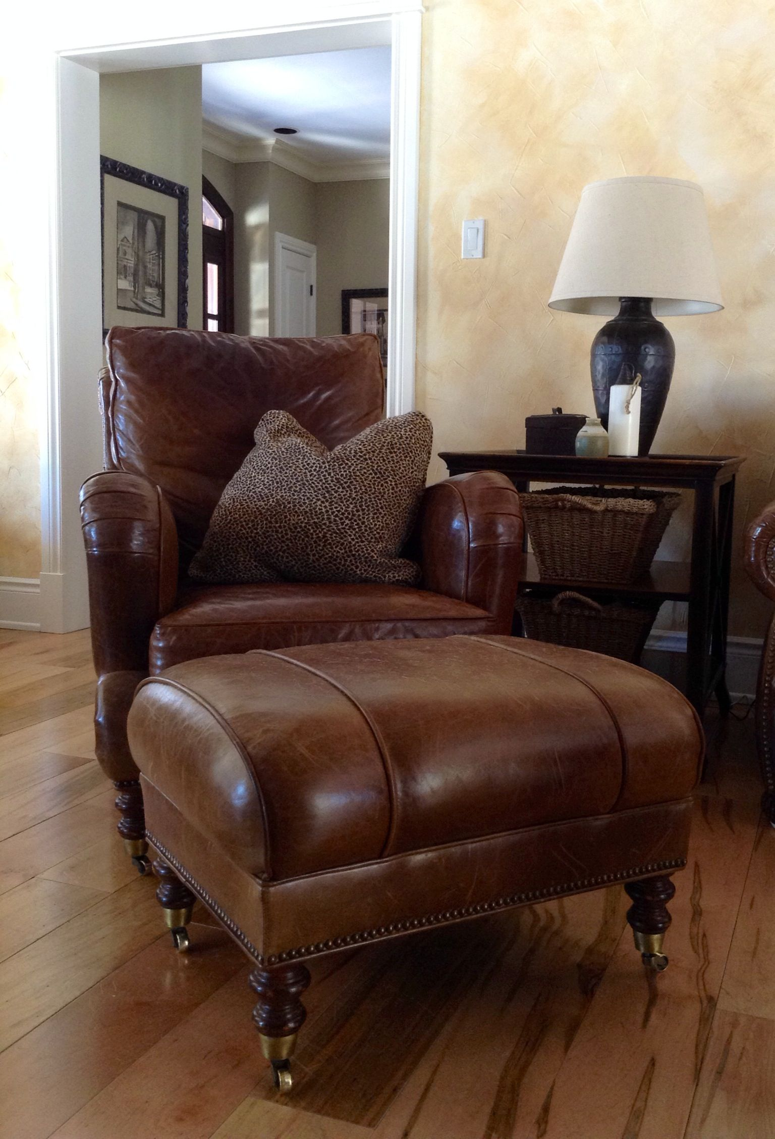 Distressed leather club chair and ottoman favorite spot to