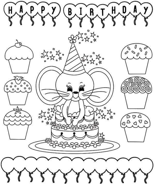 Mouse Birthday Card Coloring Page Embriodery Pages Rhinpinterest: Ginevra Disney Coloring Pages At Baymontmadison.com