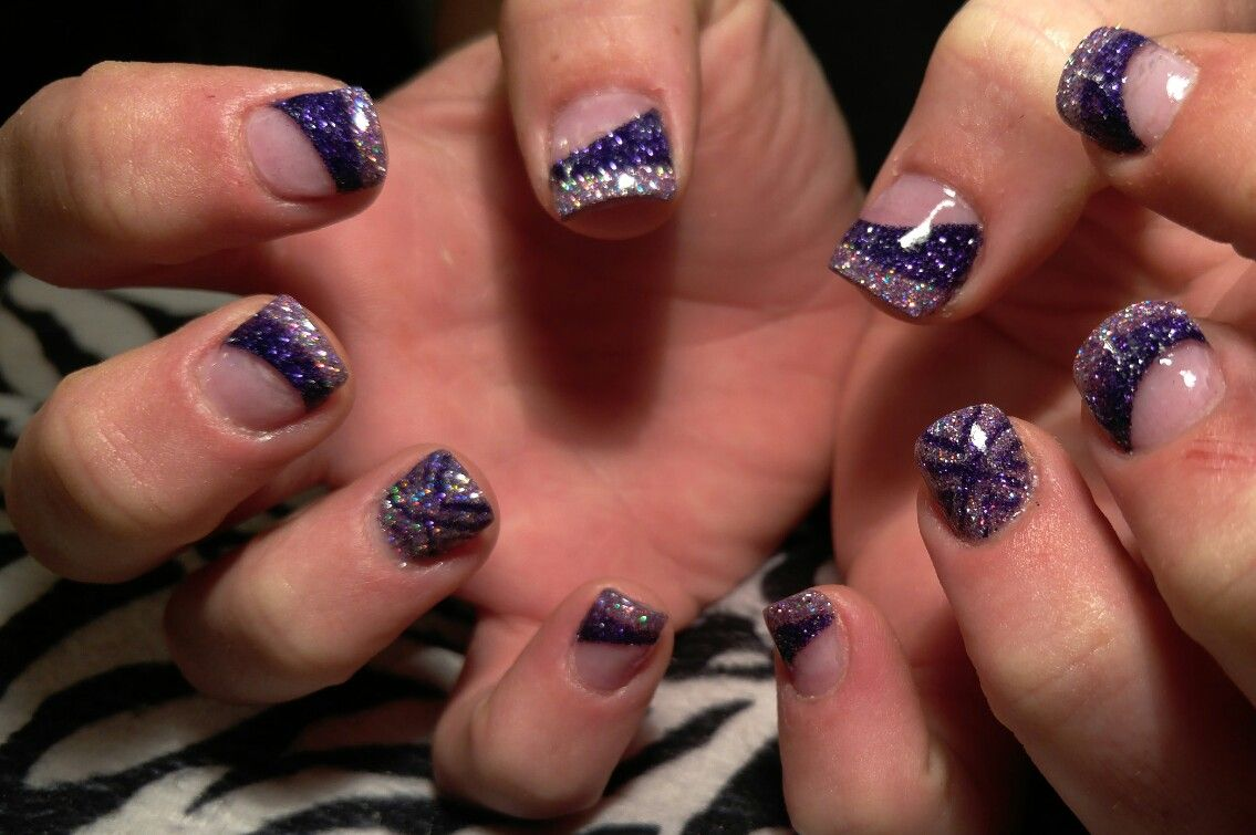 Abstract glitter acrylic designed nails! Silver and deep purple ...