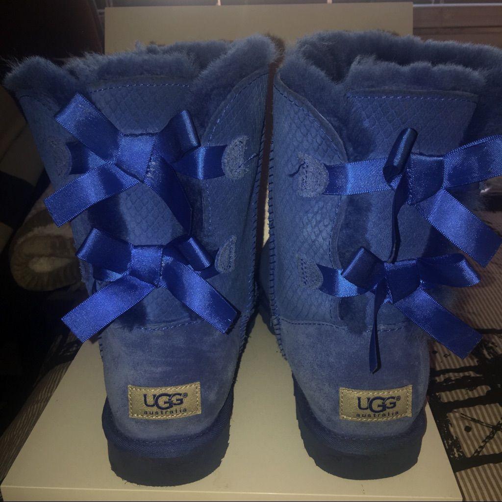 f30eedbf5af UGG Shoes | Royal Blue Snake Pattern Bailey Bow Uggs | Color: Blue ...