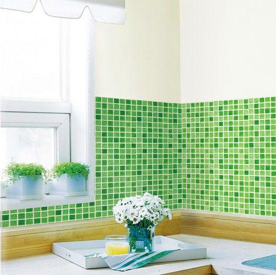 Tapete selbstklebend Dekofolie Mosaik Fliesen grün Bad Küche Haus - fliesen tapete küche