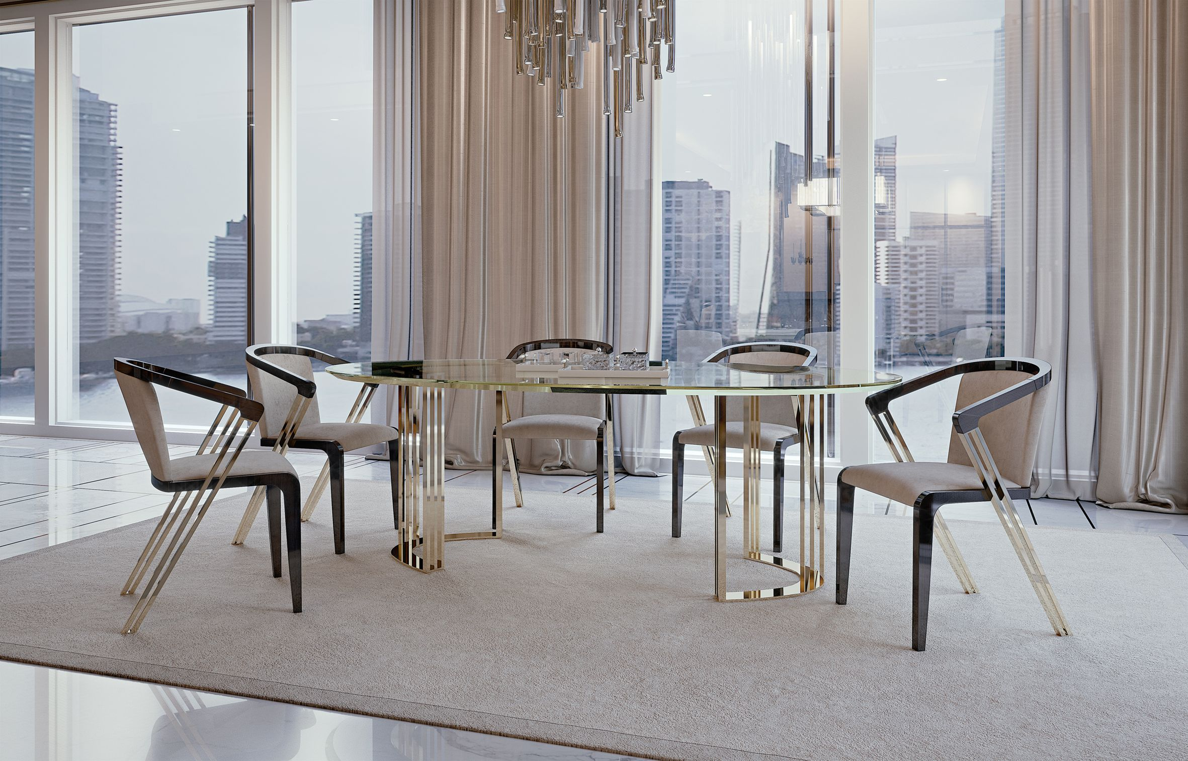 Symphony Infinity Oval Table Symphony Infinity Collection By  # Muebles Bizzotto