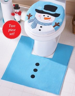 Christmas Decorations For Home Gifts Snowman Toilet Seat Cover And Rug Bathroom Set Enfeites De Natal