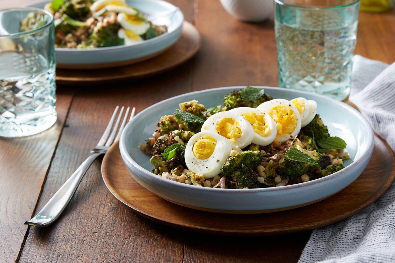 Za 39 atar roasted broccoli salad with fregola sarda for Substitute for fish food