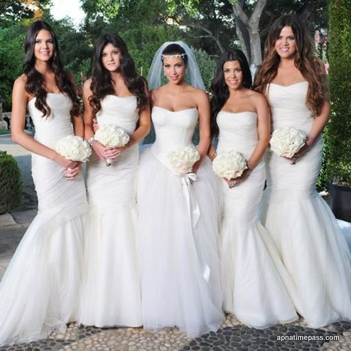 Glamorous Ball Gown Strapless Floor Length Cathedral Wedding Dresses Inspired By Kim Kardashian Sweetheart Bridesmaids Dresses Mermaid Bridesmaid Dresses White Bridesmaid Dresses