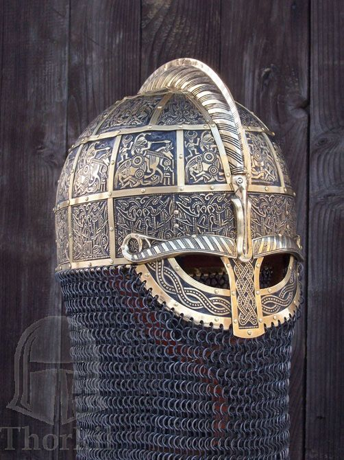 Valsgarde 8 helm recreation with aged brass pressbleches with riveted maille drape by Thorkil