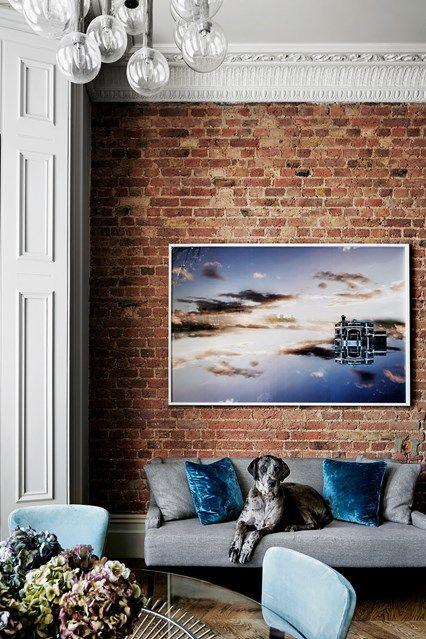 Exposed Brick Wall Grey Sofa. Shabby Chic Living RoomStylish ...