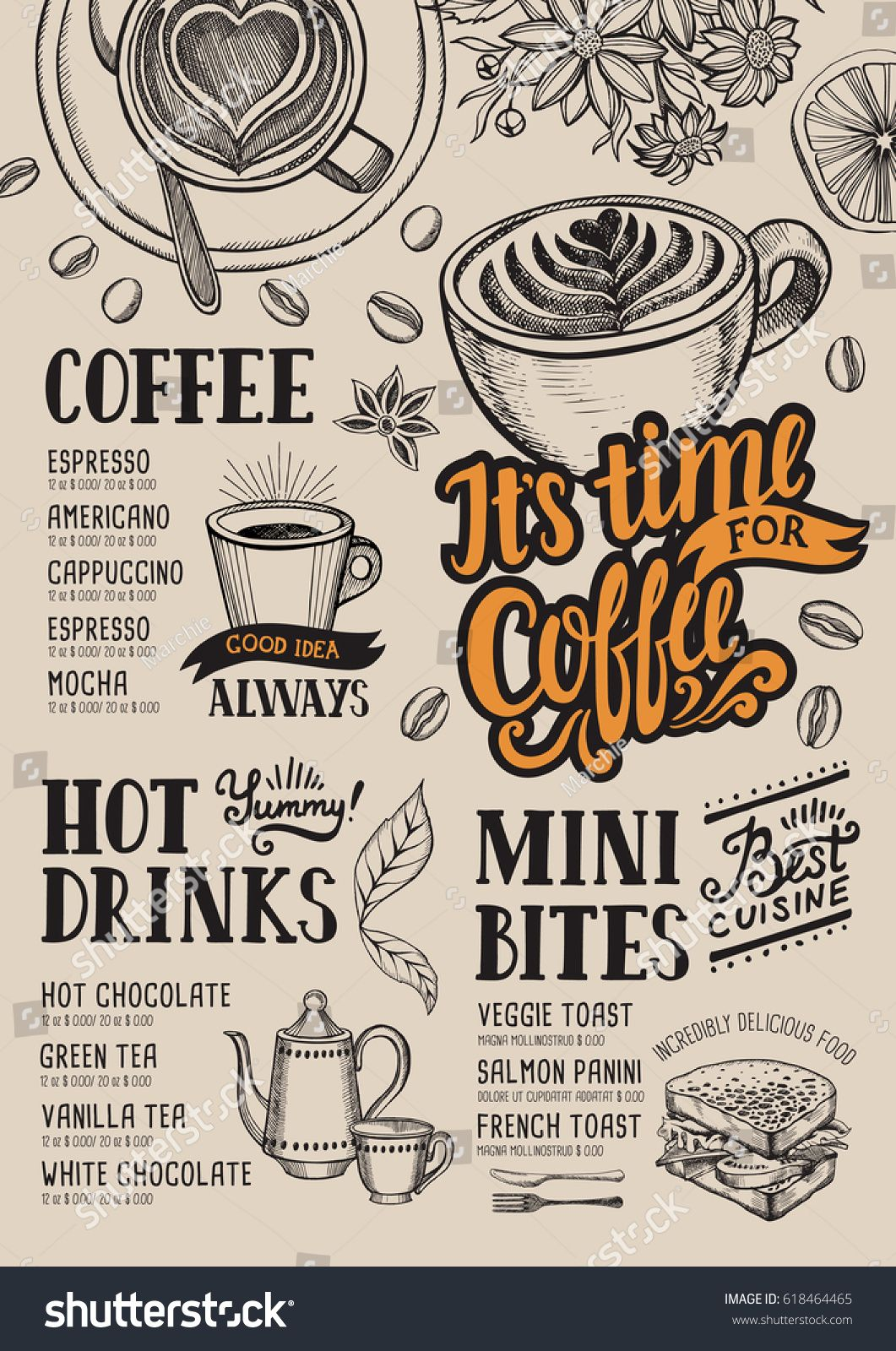 Coffee food menu for restaurant and cafe. Design template with hand ...