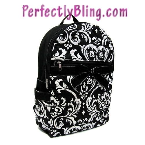QUILTED FLORAL BACKPACK WITH BOW - BLACK BACKPACK $24.99