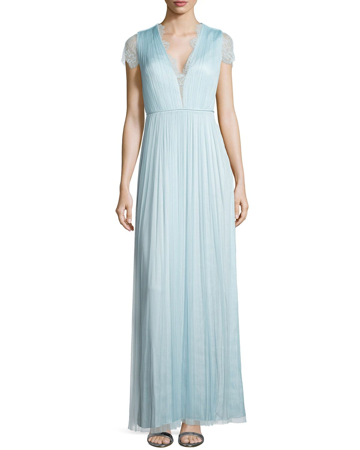Short-Sleeve Lace Gown, Aqua Sky - Catherine Deane | *Neiman Marcus ...