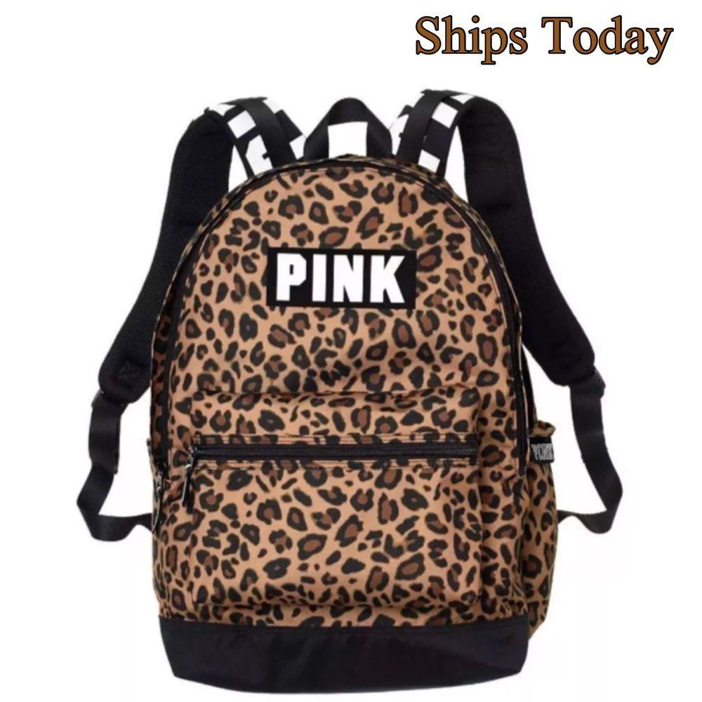 Victoria/'s Secret PINK Campus Backpack Animal Print Leopard School Bag NWT