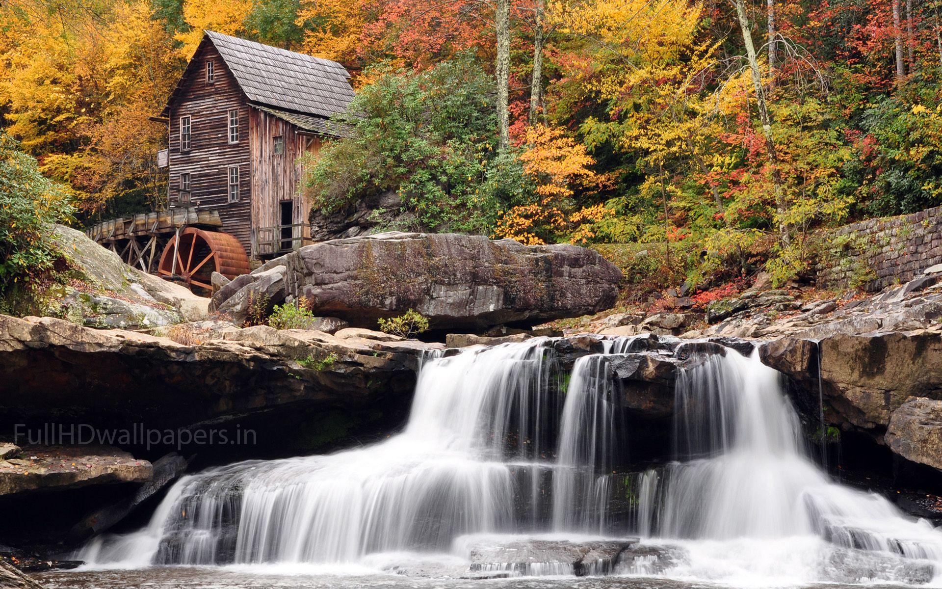Fall Autumn House Desktop Widescreen Wallpaper Waterfall Waterfall Wallpaper Natural Homes