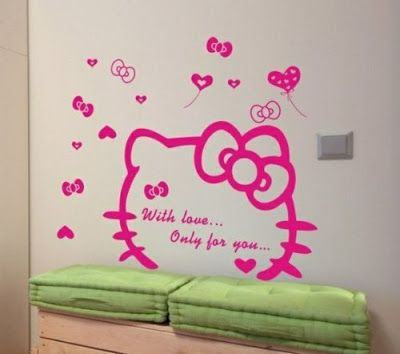 Kitty Trends: Hello Kitty Wall Decal   Face And Quote