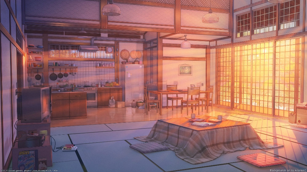Living Room And Kitchen Sunset By Arsenixc On Deviantart Anime Scenery Anime Places Landscape Wallpaper