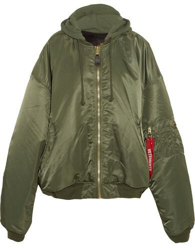788b3b79cb2 Vetements - + Alpha Industries Oversized Hooded Reversible Shell Bomber  Jacket - Army green