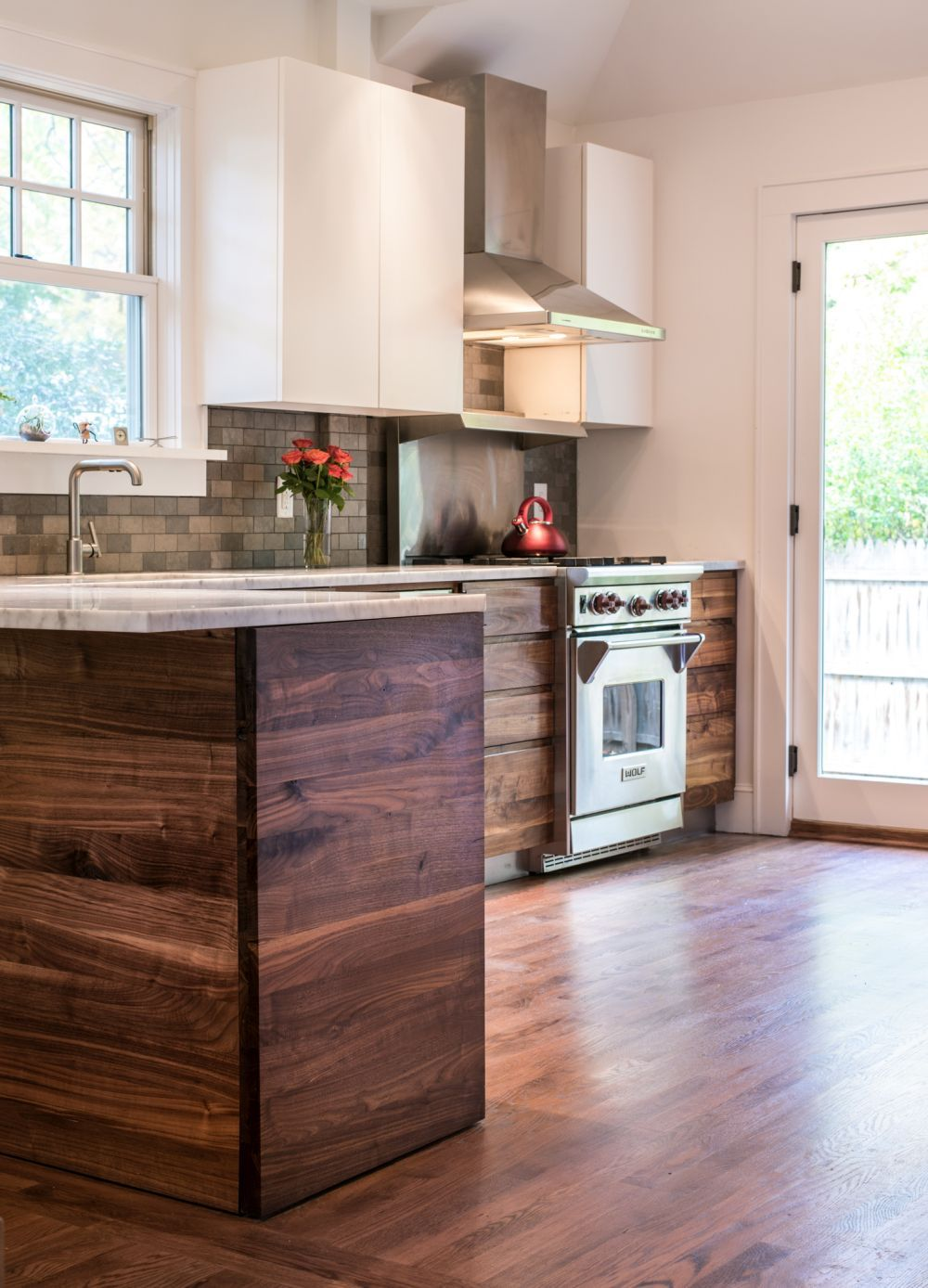 Back To Kitchens Two Tone Rustic Walnut Kitchen This Has Wood For The Base Cabinets And White Upper Which Were Done
