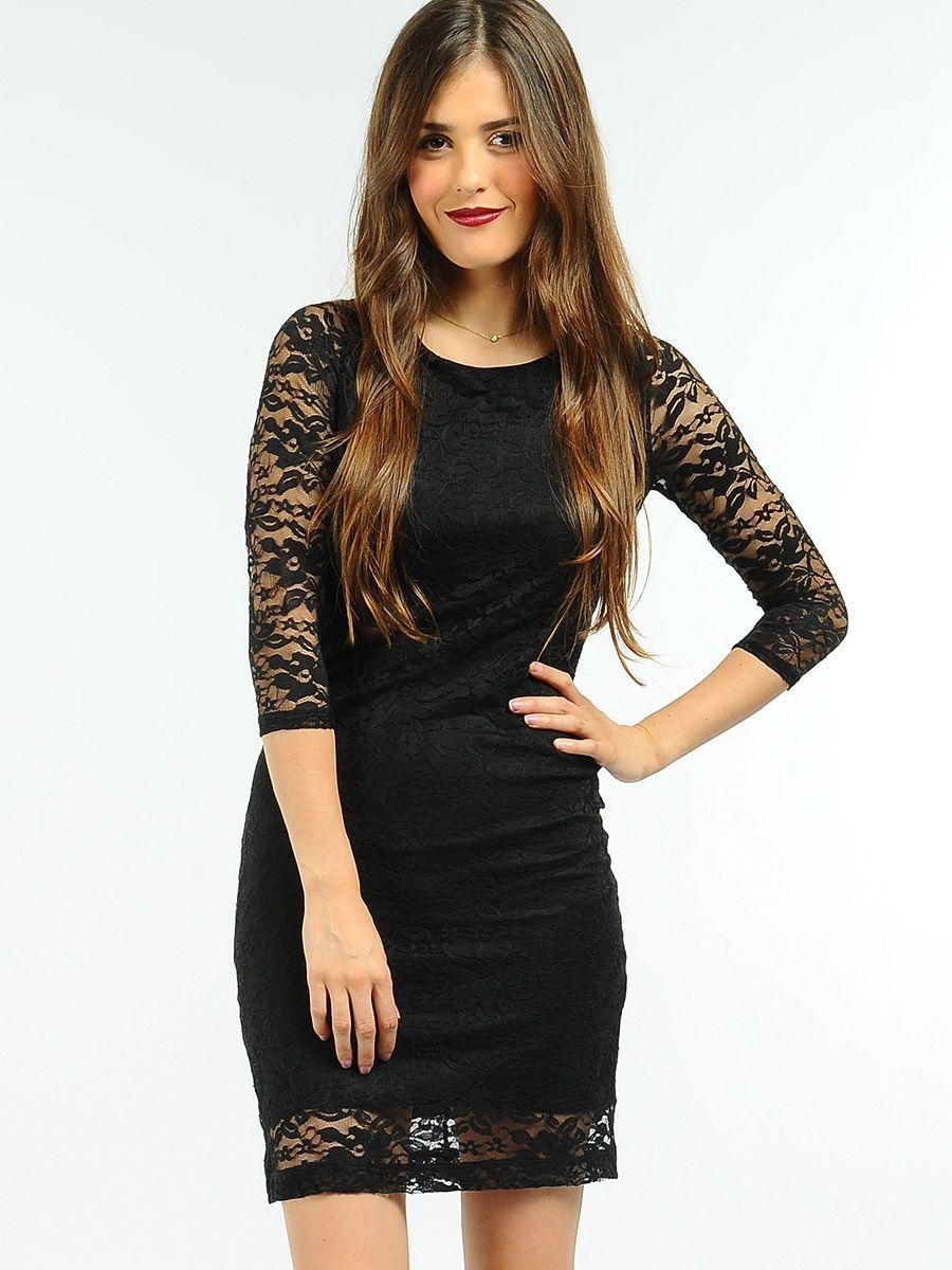 Black Lace Cocktail Dress, Short Black Dress -PromGirl | Adorable ...