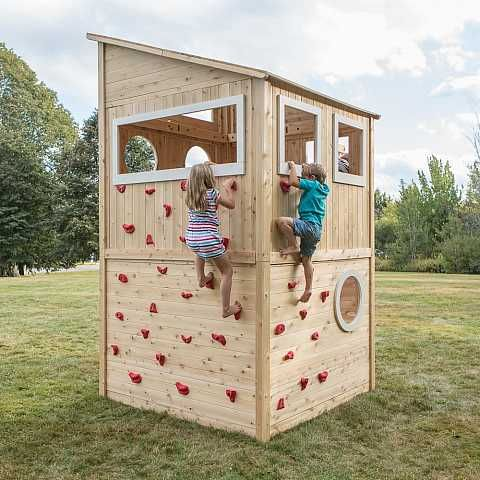 Kids climbing the outside of wooden cedar playhouse cpkm for Diy kids outdoor playhouse