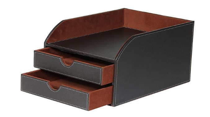 classy office supplies. Simple Supplies Leather Faux Letter Sorter 2 Trays Storage Brown Classy Desk Organizer  Office A4 In Business In Supplies M